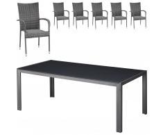 Gartenmöbel-Set Las Vegas/Palermo (100x205, 6 Stühle, grau)