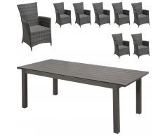 Gartenmöbel-Set California/Kansas (1 Tisch, 8 Stühle, ausziehbar)