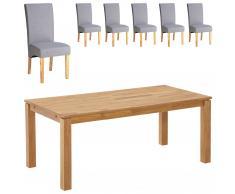 Essgruppe Royal Borg/Tom (180x90, 6 Stühle, grau)