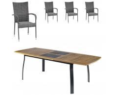 Gartenmöbel-Set Kingston/Palermo (102,9x180, ausziehbar, 4 Stapelstühle, grau)