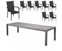 Gartenmöbel-Set Miami XXL/Palermo (95x205-275, 8 Stühle)