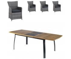 Gartenmöbel-Set Kingston/Havanna (102,9x180, ausziehbar, 4 Komfortsessel, grau)