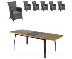 Gartenmöbel-Set Kingston/Kansas (1 Tisch, 6 Komfortsessel, ausziehbar)