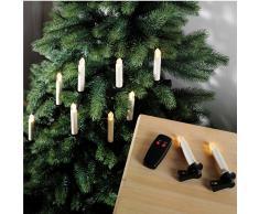 LED-Baumkerzen mit Fernbedienung (batteriebetrieben, 10 Kerzen)