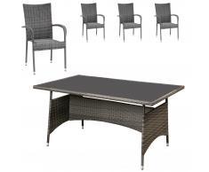Gartenmöbel-Set Palermo (90x150, 4 Stühle, grau)
