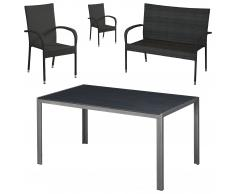 Gartenmöbel-Set Chicago/Palermo (90x150, 1 Bank, 2 Stühle)