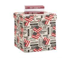 Relaxdays Sitzhocker mit Stauraum, faltbare Sitztruhe, Aufbewahrungsbox mit Deckel, HxBxT 38 x 38 x 38 cm, weiß-rot