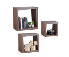 Relaxdays Wandregal 3er Set quadratisch 25cm Tiefe Bücher CDs DVDs Wohnzimmer Kinderzimmer Deko, braun
