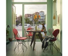 Wire Chair Stuhl DKR-2 mit Sitz- und Rückenkissen creme-rot neue Maße