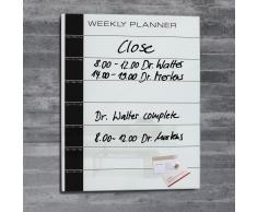 artverum® Glas-Magnetboard als Weekly Planer 40 x 50 weiss
