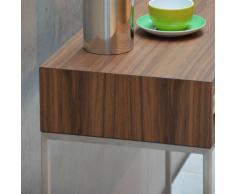 Dina Nachttisch mit Schublade nussbaum-silber