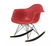 Eames Plastic Armchair RAR Schaukelstuhl oxidrot-schwarz