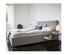 Nola Eins Polsterbett mit Holzfüßen 180 taupe