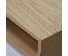 Dina Nachttisch mit Schublade in Edelstahl eiche natur