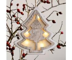 LED-Fensterdeko Baum, 20x17x2 cm, Holz und Kunststoff, weiß