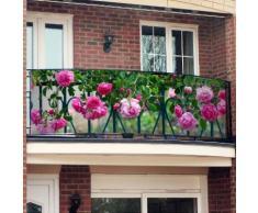 Balkon-Sichtschutz Rosa Rosen 250 x 80 cm