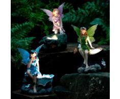 Gartenfiguren Elfen, 3er-Set mit Solar-LED-Lampen