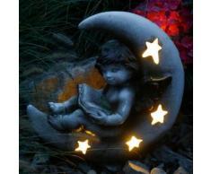 Gartenfigur Mondschein mit LED Licht, 42x28x42 cm, Fiberglas, grau