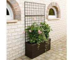 Outdoor-Rattan-Blumenkasten mit Rankgitter und Bewässerungssystem, rechteckig