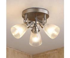 Runde LED-Bad-Deckenleuchte Kara mit Riffelglas