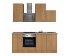 ROLLER Küchenblock, Küchenzeile Nano - Buche - mit E-Geräten - 210 cm, A