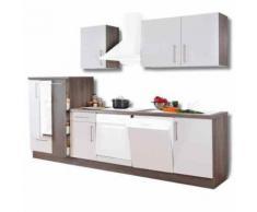 ROLLER Küchenblock, Küchenzeile Julia - weiß Hochglanz-Trüffel - 310 cm
