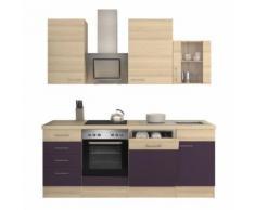 ROLLER Küchenblock, Küchenzeile Focus - Akazie-Aubergine - mit E-Geräten - 220 cm, A