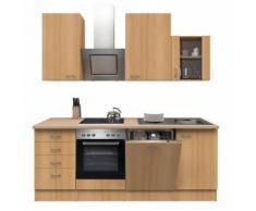 ROLLER Küchenblock, Küchenzeile Nano - Buche - mit E-Geräten - 220 cm, A