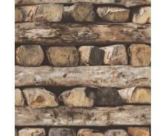 ROLLER Tapete - braun - Holz - 10 Meter