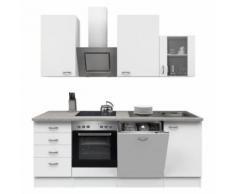 ROLLER Küchenblock, Küchenzeile Wito - weiß-grau - mit E-Geräten - 220 cm, A