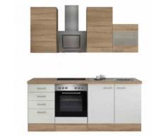 ROLLER Küchenblock, Küchenzeile Samoa - weiß-Sonoma Eiche - mit E-Geräten - 210 cm, A