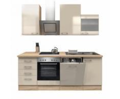 ROLLER Küchenblock, Küchenzeile Nepal - Kaschmir Glanz-Sonoma Eiche - mit E-Geräten - 220 cm, A