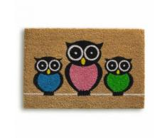 ROLLER Kokos-Fußmatte, Türvorleger Owls - beige - 40x60 cm