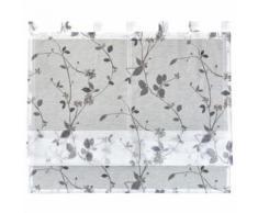 ROLLER Raffrollo Roma - weiß-grau - mit Blumen - 100x140 cm