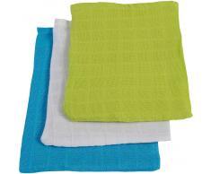 Jollein Waschlappen, Mull, lime/ aqua/weiß, 15 x 21 cm, 6er Pack