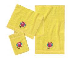 myToys Frottierset, 2 Handtücher klein & 1 Waschlappen, Gelb/Eule