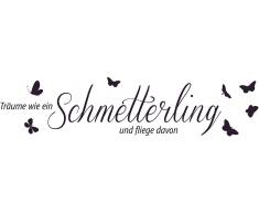 Wandtattoo, Home affaire, »Träume wie ein Schmetterling...«, Maße (B/H): ca. 120/30 cm
