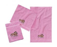 myToys Frottierset, 2 Handtücher klein & 1 Waschlappen, Pferd/Rosa