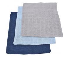 Jollein Waschlappen, Mull, marine/hellblau/hellgrau, 15 x 21 cm, 6er