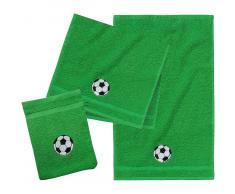 myToys Frottierset, 2 Handtücher klein & 1 Waschlappen, Fußball/Grü