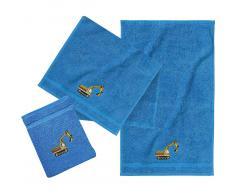 myToys Frottierset, 2 Handtücher klein & 1 Waschlappen, Bagger/Blau