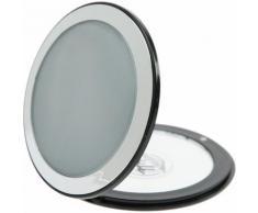 Fantasia Taschenspiegel, Kunststoff, Silber/Schwarz, 7-fach Vergrößerung, Ø 8,5 cm