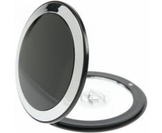 Fantasia Taschenspiegel, Kunststoff, Schwarz/Silber, 7-fach Vergrößerung, Ø 8,5 cm