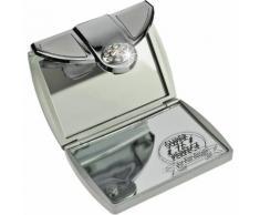 Fantasia Taschenspiegel, eckig, Silber 7-fach Vergrößerung, Swarovski Elements, Maße 8 x 6 cm