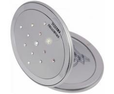 Fantasia Taschenspiegel, oval, Silber, 5-fach Vergr., Magnetverschluß Swarovski Elements,Maße 9x7cm