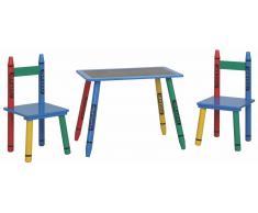 Steiner Shopping Moebel (FT) Kindersitzgruppe Matteo 04, 3-teilig, Farbe: Blau / Rot / Gelb / Grün