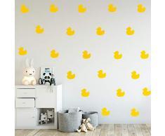 Set mit 12 Vinyl-Wandaufklebern - Kleine Enten - je 12,7 x 12,7 cm - niedliches lustiges Zuhause für drinnen und draußen, Schlafzimmer, Wohnzimmer, Wohnzimmer, Kinderzimmer, Kinderzimmer, Spielzimmer Dekor Modern 5 x 5 each gelb
