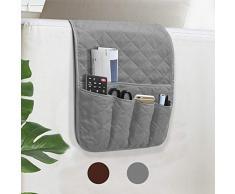VNOM Sofa Armlehne Organizer Anti-Rutsch-Armlehnen-Sessel Nachttisch Ablage Organizer für Liege Couch mit 5 Taschen für Handy TV Fernbedienung Zeitschriften grau