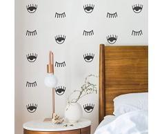 Imprinted Designs Set mit 35 Vinyl-Wandaufklebern - Augen Muster - je 5,1 cm bis 8,9 cm - Moderne, trendige Urban Home Wohnzimmer Schlafzimmer Wohnung Dekoration - Cool Office Work Kinderzimmer Spielzimmer Aufkleber Modern 2 to 3.5 each schwarz
