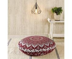 Popular Handicrafts Mandala Round Hippie Bodenkissen 32 Pillow Cover Maroon Silver